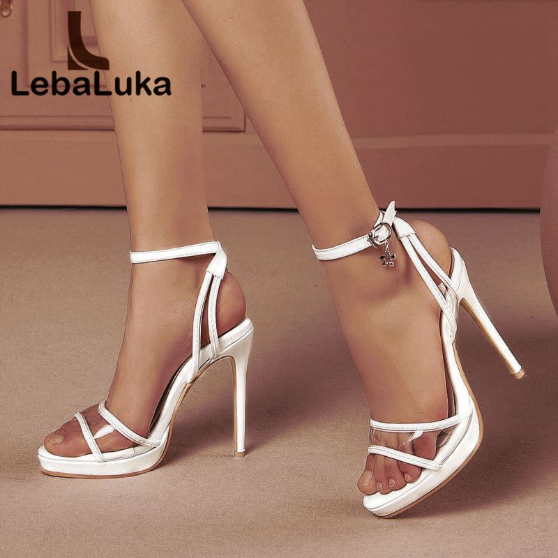 Tuyoki <font><b>Sexy</b></font> Thin <font><b>Heel</b></font> <font><b>Sandals</b></font> Ankle Buckle <font><b>Platform</b></font> <font><b>High</b></font> <font><b>Heel</b></font> Shoes Woman Office Ladies Party Wedding Mujer Shoes Size 28-52 image