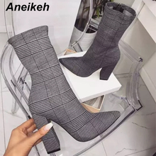 Ankle-Boots Women Shoes High-Heels Zipper Chelsea-Size Aneikeh Mujer Denim Pointed-Toe