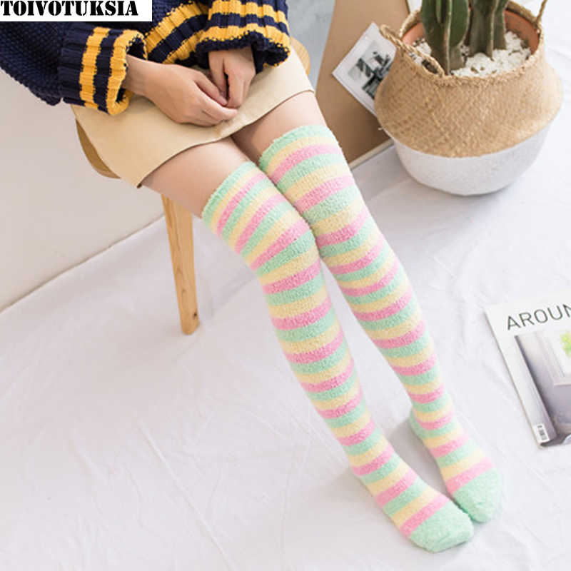 4680deb76 TOIVOTUKSIA Women Lady Girl Over The Knee Warm Fluffy Long Striped Thigh  High Long Striped Fuzzy