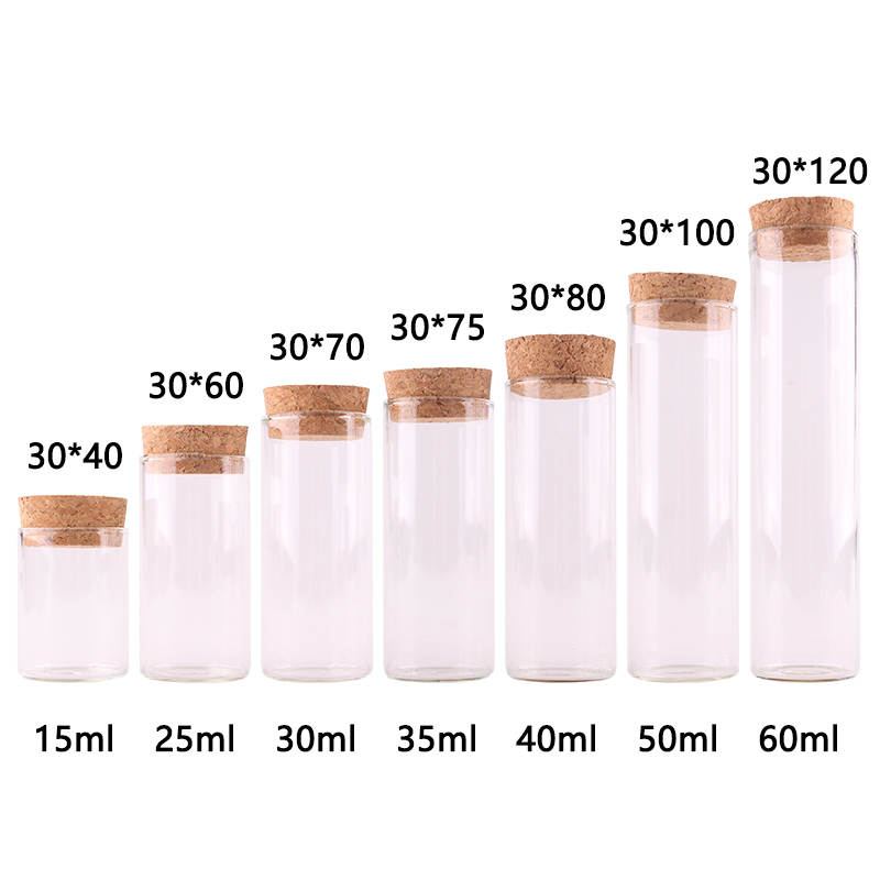 Dia 30mm: 15ml <font><b>25ml</b></font> 30ml 35ml 40ml 50ml 60mlTransparent Glass Test Tube Vials Terrarium with Cork Stopper Glass <font><b>Container</b></font> 24pcs image