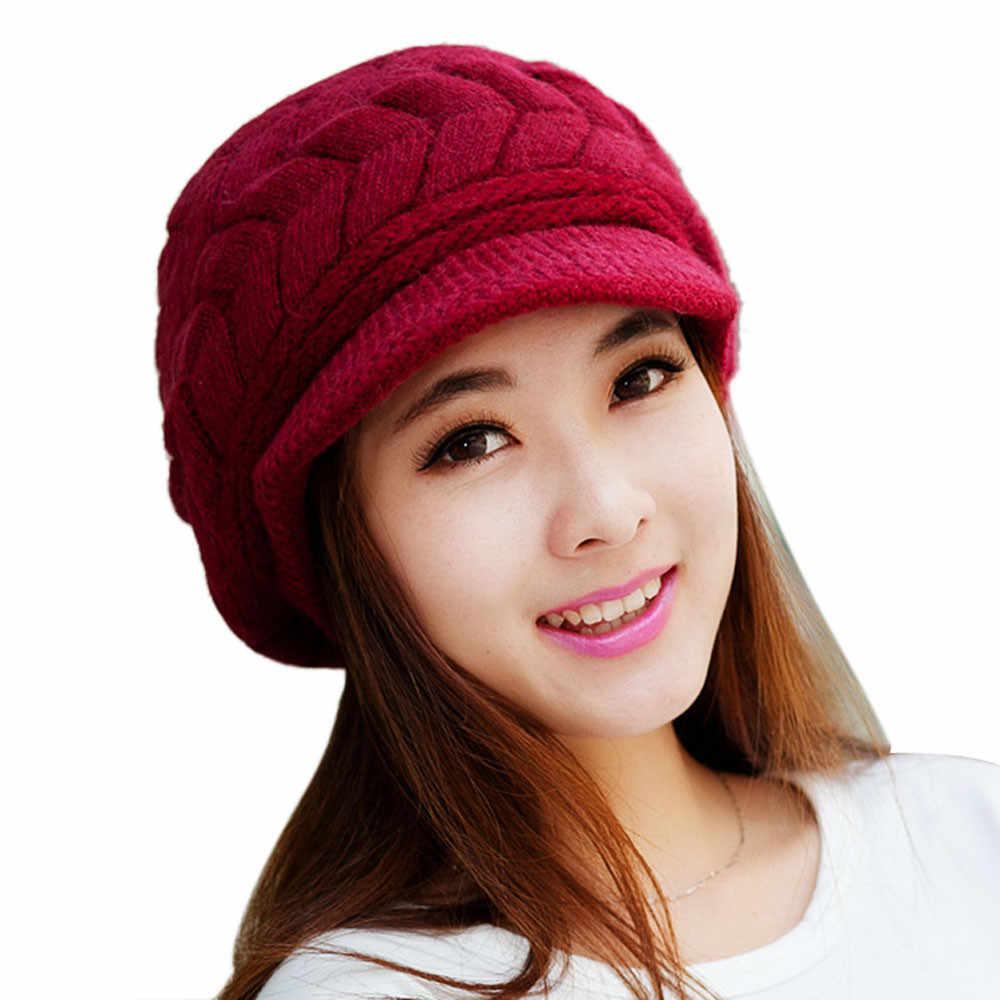 Lladies mujeres sombrero invierno Skullies Gorros punto sombrero de piel de conejo sombreros de sol para Mujer Casquette Mujer invierno BL #