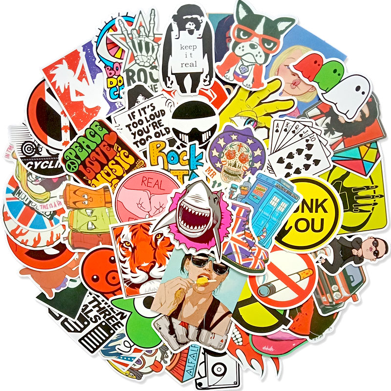 50pcs Colorful Sticker Mixed Graffiti Anime Funny Waterproof PVC Stickers For Suitcase Skateboard Laptop Fridge Stickers