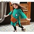 2016 Осень Детская Одежда Девушки Платье flare рукавом Платье зеленый мода Дети Платье 2-8years дети платья для девочек