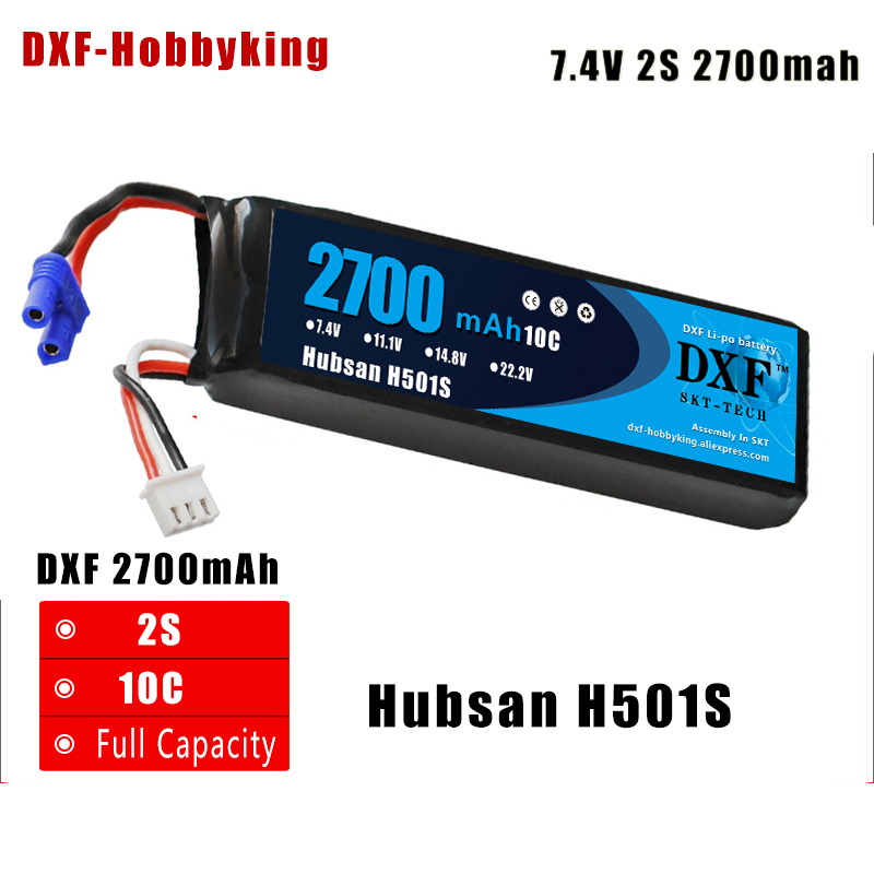 DXF Hubsan H501S X4 RC Quadcopter Spare Parts 7.4V 2700mAh 10C Rechargeable Battery H501S-14 For H501S Upgrade Parts цена