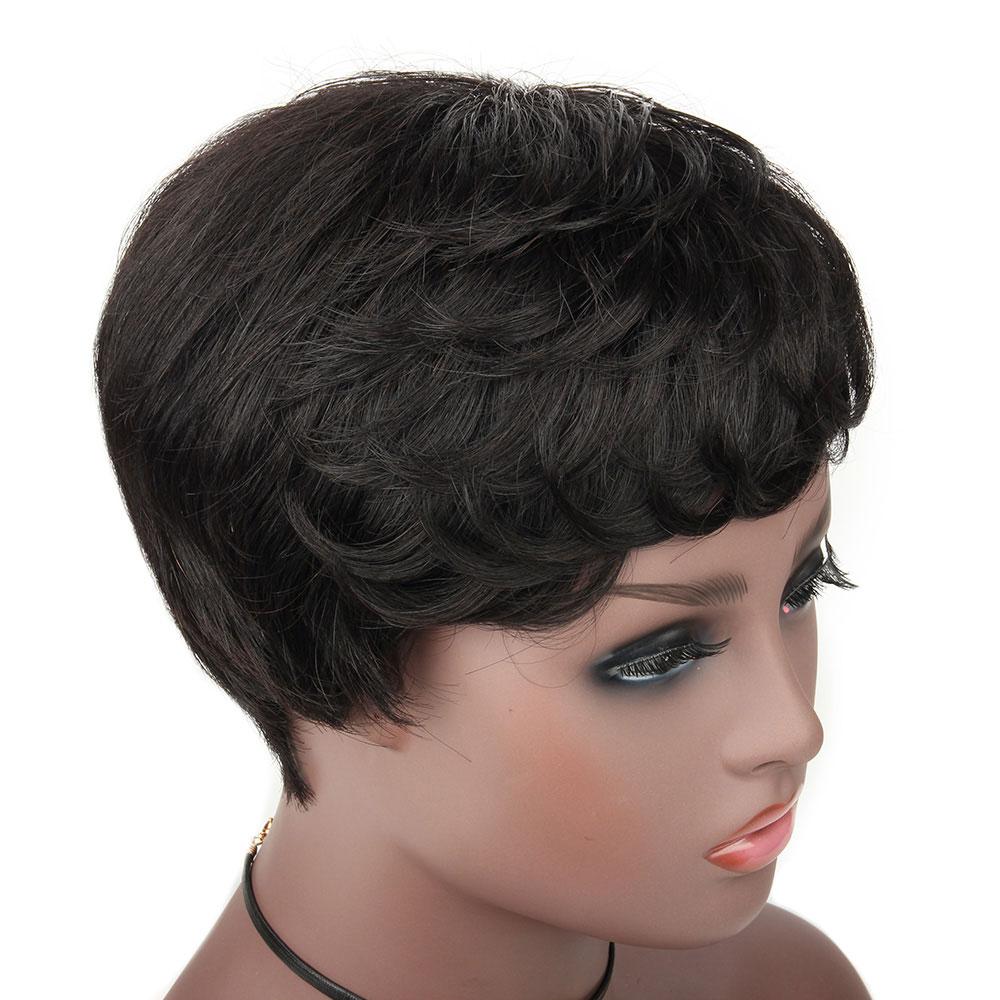 Brazilian 6 Inch Brazilian Human Hair Wigs With Bangs For Black/White Women Machine-made 100% Remy Human Hair Extension Afro Wig