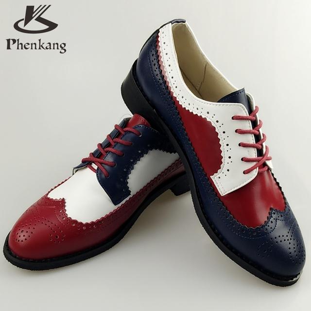 Genuine Leather Big US size Vintage Flat Round Toe Handmade Oxford Shoes