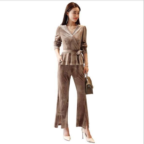 Spring Autumn 2 Piece Set Women Velvet Two Piece Outfits Black Khaki Office  Work Pant Suits For Women Velour Set Clothing 7be7bba10f