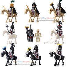 DR.TONG Single Sale AX9815 LegoINGly Medieval Castle Skeleton Knights Gladiatus Skeleton Horses Building Blocks Bricks Kids Toys(China)