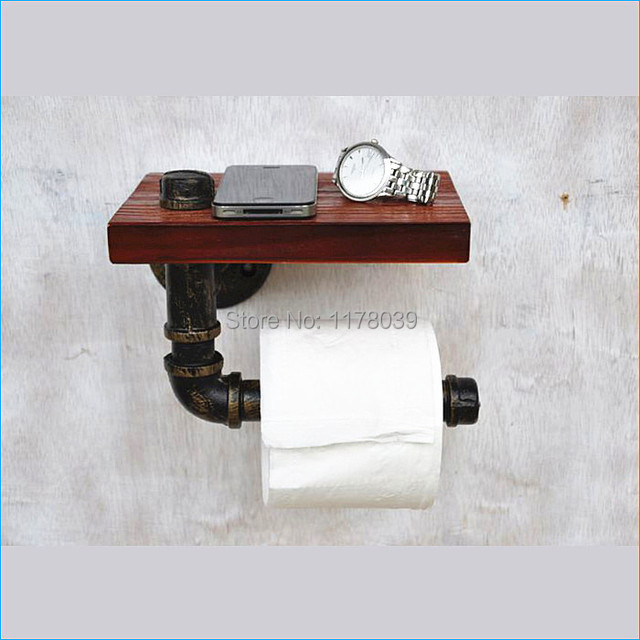 Wall Mounted Wooden Paper Towel Holder Wood Toilet Roll European Retro