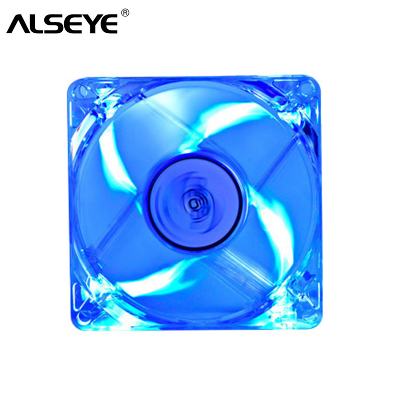 ALSEYE 80mm LED PC Fan Cooler, 3pin & Molex 4D 12V 2200RPM 8cm Transparent Silent Cooling Fans (3 Color available) original delta aub0812vhb 8015 8cm 80mm dc 12v 0 30a slim chassis power supply cooling fans cooler