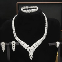 Luxury Cubic Zircon Nigerian Jewelry Sets For Women Wedding Indian Necklace Earrings Sets Bangle Ring parure bijoux femme