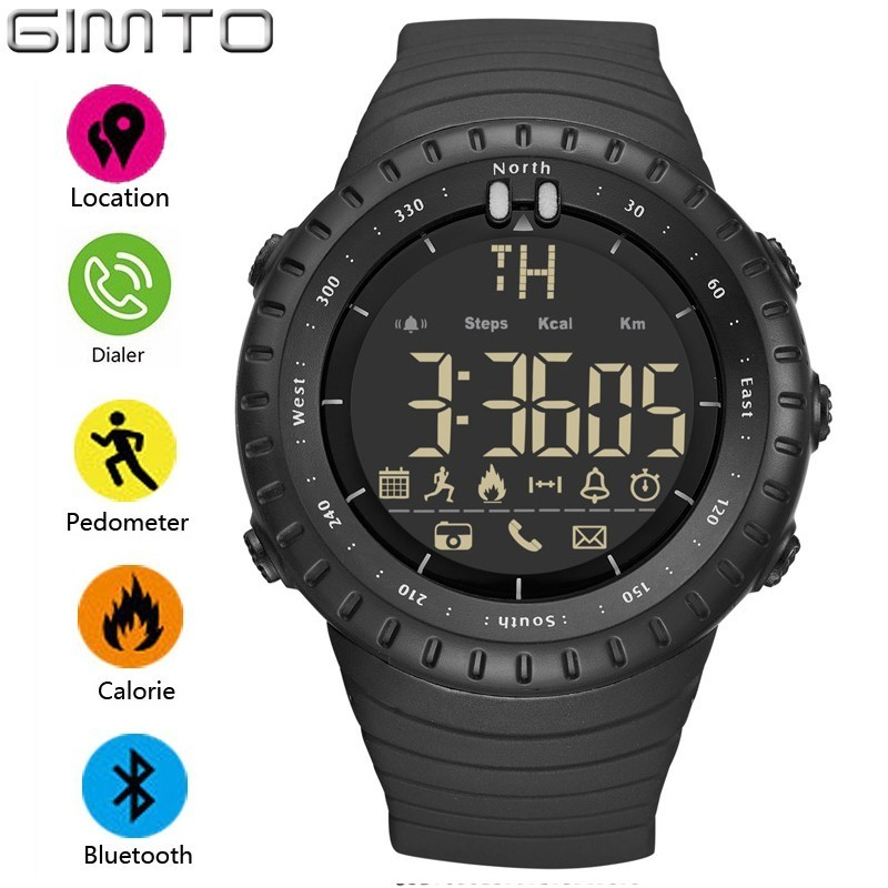 GIMTO Smart Watch Men LED Eletronicos Digital Outdoor Sport Watch With Pedometer Stopwatch Alarm Clock Militar