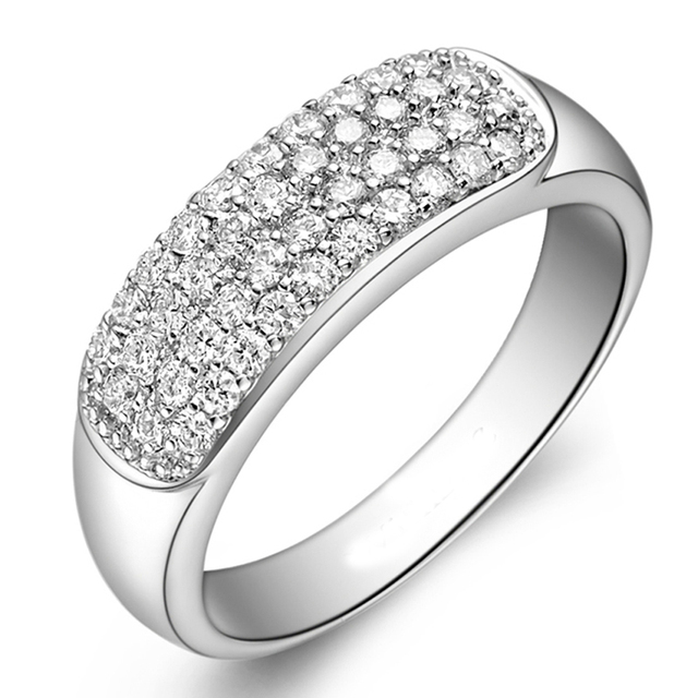 Real Diamond 14K Solid White Gold 585 Wedding Engagement Ring