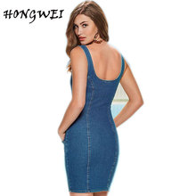 Хунвэй 2017 молния спереди платье Джинсы для женщин Летний стиль мода Европы Для женщин пикантные ковбойские джинсовые платья без рукавов Vestidos Джинсы для женщин