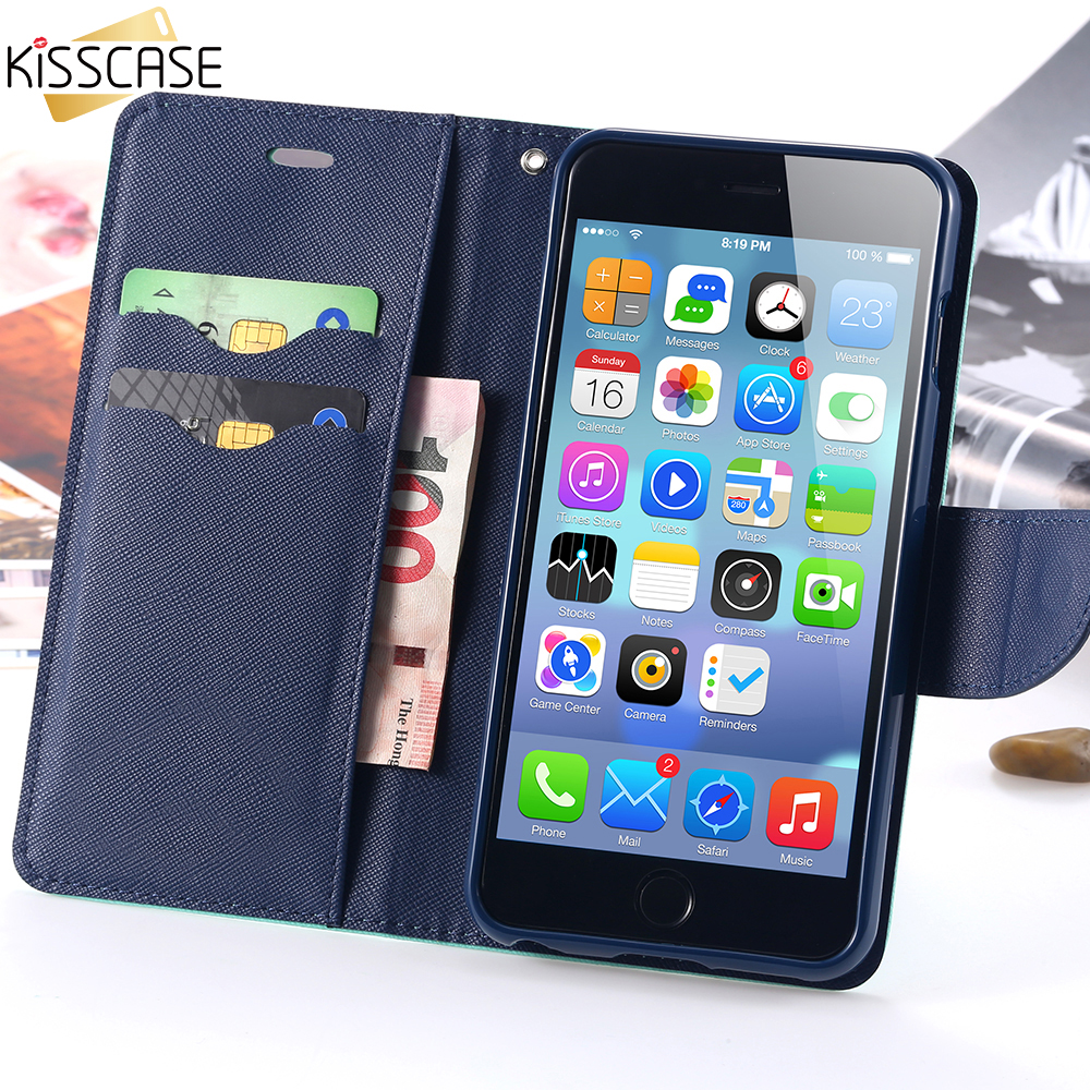 KISSCASE Flip Leather Case For iPhone 6 6S 7 / Plus 5 5S SE Dual Color Card Slots Stand Wallet Cover For Apple iPhone 6 7 5S SE