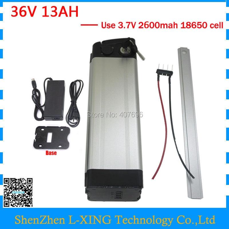 500 W 36 V 13AH Batteria pesce d'argento 36 V batteria Al Litio bici Elettrica 18650 Cellulare con 15A BMS 42 V 2A Caricatore di Trasporto tassa della dogana