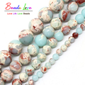 Round ShouShan Stone Beads Snakeskin Blue Stone Jasper Beads 4/6/8/10/12mm Pick Size 15inches For Jewellery Necklace (F00593)