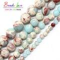 ShouShan de Piedra redonda Cuentas de Piedra Azul de piel de Serpiente Jasper Beads 4/6/8/10/12mm Elegir tamaño 15 pulgadas Para la Joyería Del Collar (F00593)