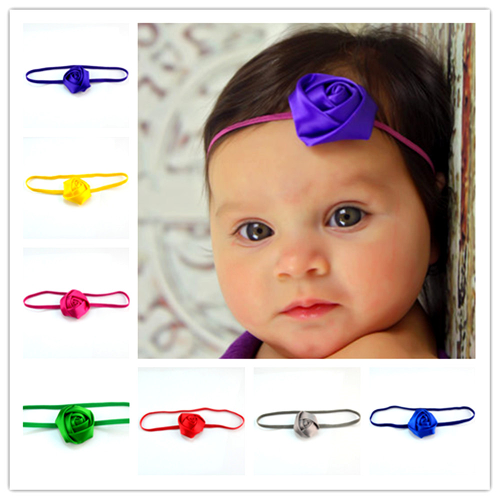50pcs/lot Fashion Strong Elastic Headband with 5.0cm Satin Ribbon Rose Bud girl Photogra ...