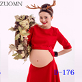 2017 Red Maternity PhotographyProps Dress Elegant Fancy Pregnancy Photo Shoot Pregnancy Dresses For Pregnant Women Dresses YL407
