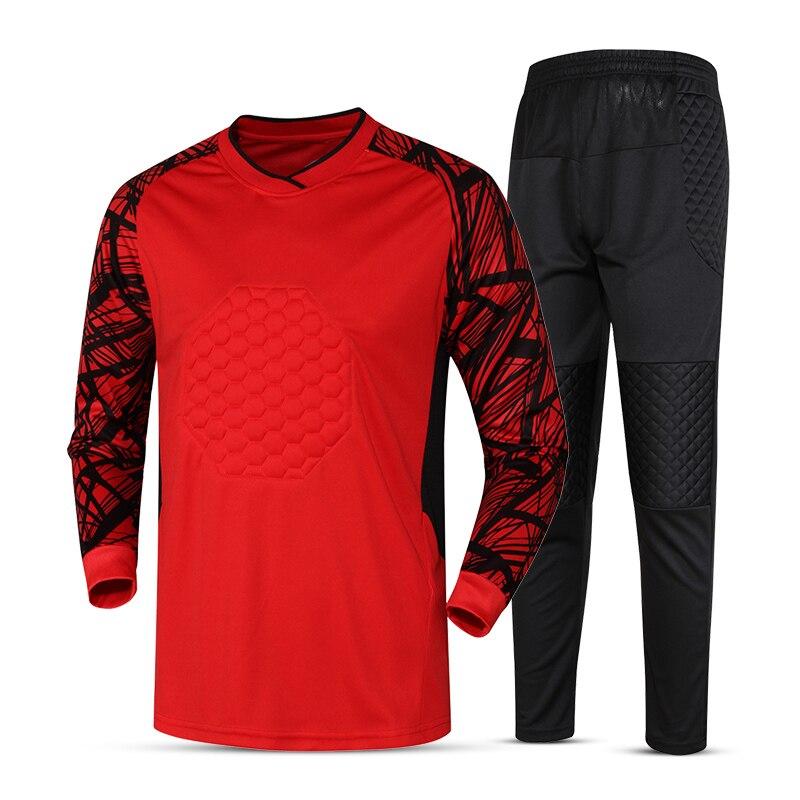 2017 esponja Protector de portero de fútbol Jersey juego en blanco fútbol  traje de entrenamiento de fútbol de los hombres Kits deportivos guardameta  ... ba0bed295cc83