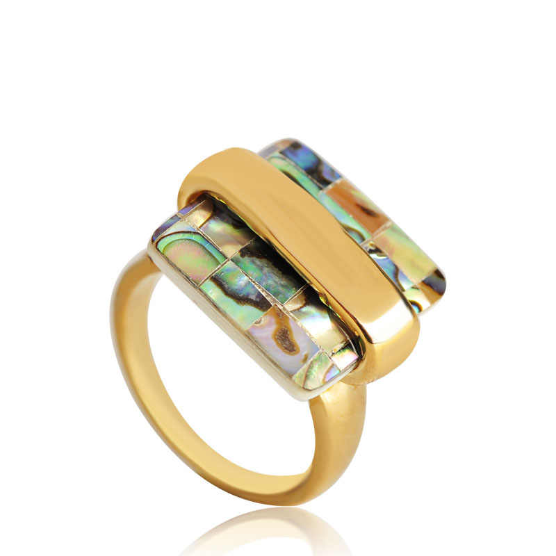 Blucome แหวนแฟชั่นสแควร์ Abalone Shell วัสดุ Alloy ผู้หญิงงานแต่งงานอุปกรณ์เสริมเครื่องประดับจัดส่งฟรี Best ของขวัญ
