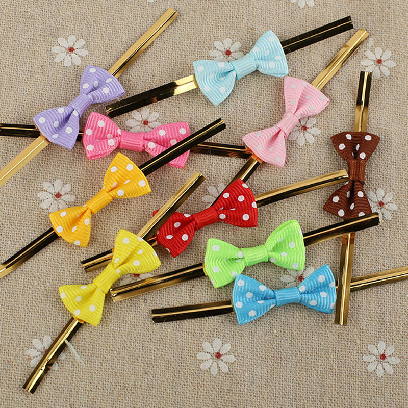 100Pcs Bowknot Metallic Twist Wire Ties Candy Lollipop Wrapping Baking Cello Gift Bags Sealing Binding Wire Wedding Party Decor
