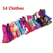 Randomly Pick 14 pcs/lot Doll Clothing Sets Fashionable Clothes Casual Dress Suits For Barbie Best Gift Baby Toys