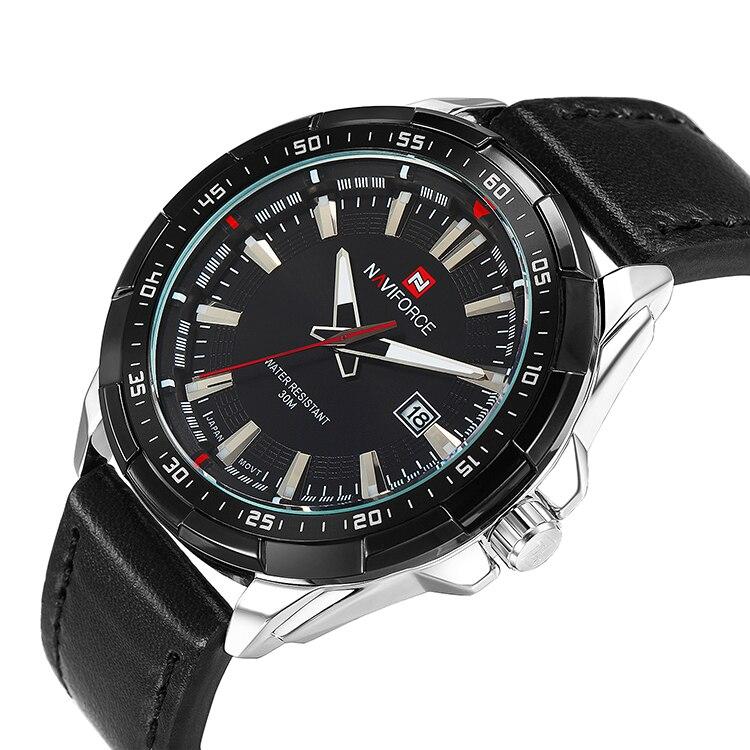 NAVIFORCE font b Men s b font Leather font b Quartz b font Wrist Watch Watch