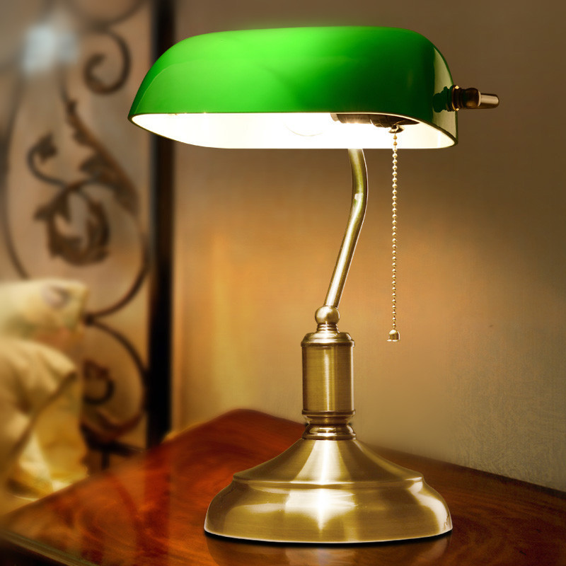 America Antique Green Bank Lamp Living Room Retro Table Lamp Study Vintage Table  Lamp Old Fashion