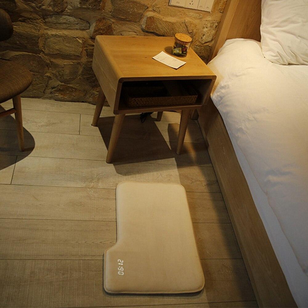 Réveil intelligent sensible à la pression tapis électronique horloge numérique chambre anti-dérapant blanc doux tapis horloge étudiant paresseux alarme