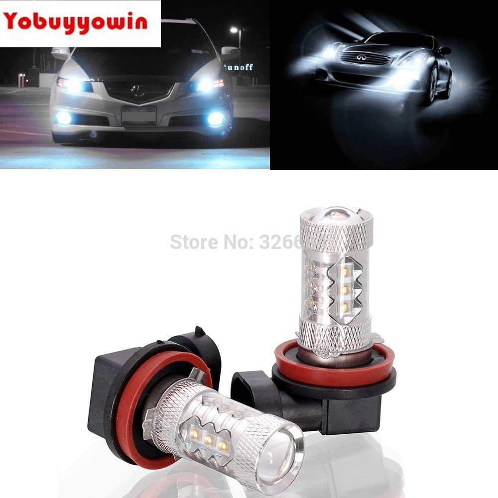 Car Auto H8 H11 H9 80W Xenon CREE Chips Projector Lens Car LED Bulb High Power 6000k DRL Light Daytime Running Fog light Lamps free shipping h1 led 30w fog light high power cree led bulb 12v auto led car light bulb white automotive led auto xenon parking