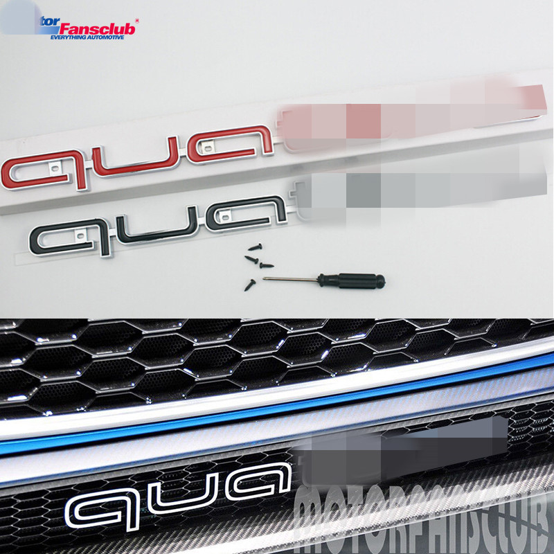 For Quattro Emblem Car Sticker Logo Badge Front Grille Racing Grill Mesh For Audi A3 A4 B8 B6 A5 A6 RS3 RS5 S6 Q5 Q7 A7 Style