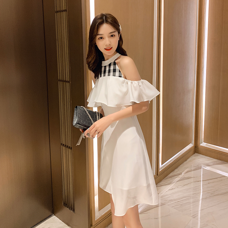 JIBAIYI Off Shoulder Elegant Slim Irregular Dress for Women Vintage Halter Sleeveless Sexy Party Dresses Splice Plaid Vestidos