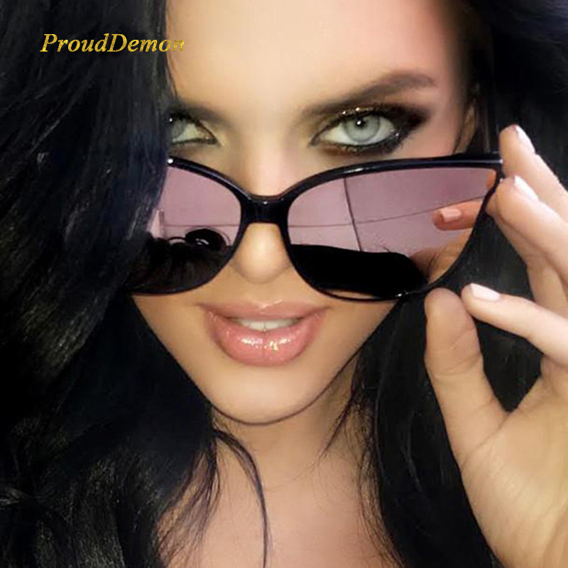 2018 Fashion Women Color Luxury Flat Top Cat Eye Occhiali da sole Elegant oculos de sol men Twin Beam occhiali da sole oversize UV400