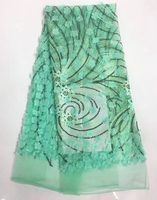 Plain green substitutes lace sewing tulle fabric French lace fabric with 3 d appliques big stones sequins