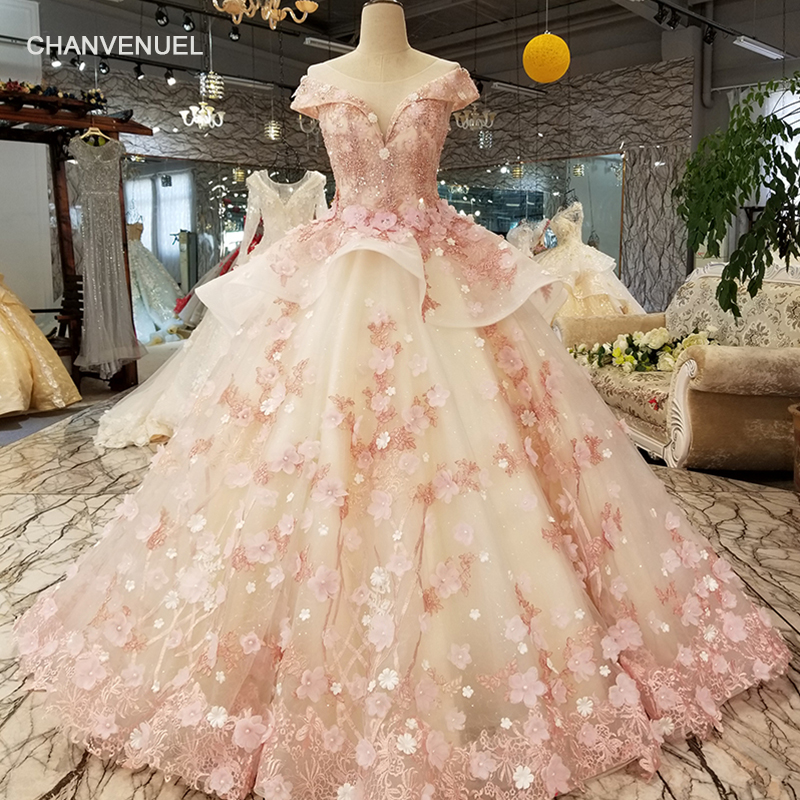 LS6669 color lace 3d flowers evening dress cap sleeve o neck lace up back ball gown