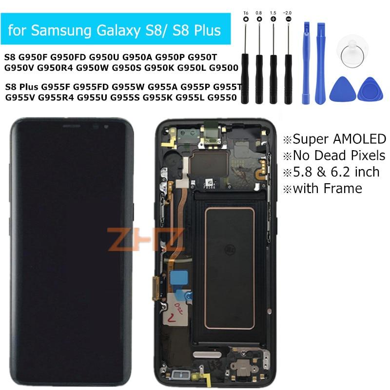 Pour Samsung Galaxy S8 S8 Plus G950 G955 Lcd Affichage avec cadre Affichage à L'écran Tactile Digitizer Assemblée Remplacement Pièces De Rechange