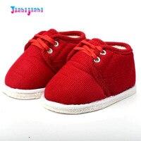 Neugeborenen Baby Prewalkers Mädchen Jungen Anti-Überspringen Schuhe Chinesische Rote Warme Schuhe Infant Lace Up Weichen Boden Ersten Wanderer mokassins