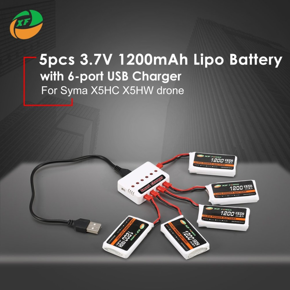 5pcs XF POWER <font><b>3.7V</b></font> <font><b>1200mAh</b></font> 25C <font><b>Lipo</b></font> <font><b>Battery</b></font> JST Plug with 6-port USB Charger For Syma X5HC X5HW Drone Quadcopter image