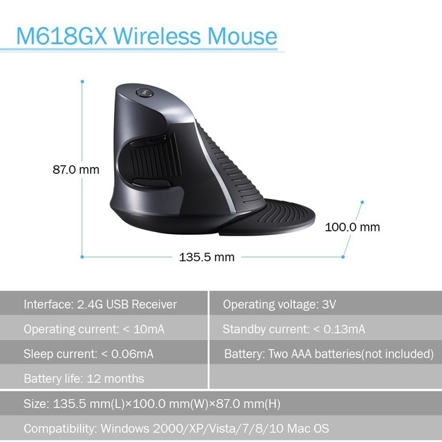 Delux M618GX Ergonomic Vertical Wireless Mouse 6 Buttons 1600DPI Optical Mouse With 3 Colors Silicon Rubber Case For PC Laptop