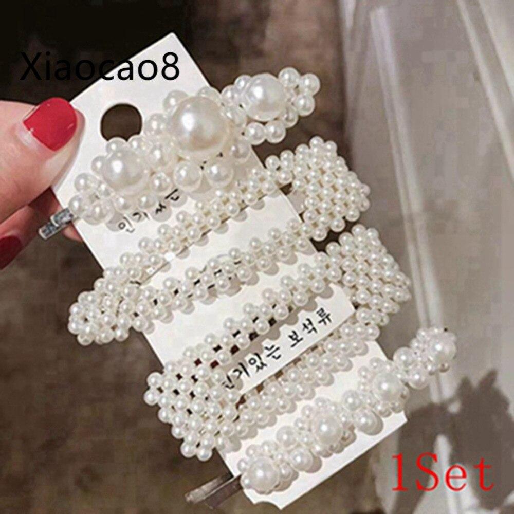1 Set Solid Pearl Hair Clips Women Hair Barrette Fashion Hairpins Trendy Hairgrip Hair Accessories Headband for Girls Headwear