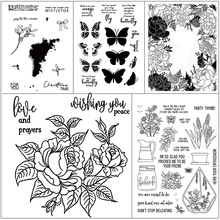 AZSG Delicate Potted Plants Butterfly Clear Stamps/Seals For DIY Scrapbooking/Card Making/Album Decorative Silicone Stamp Crafts