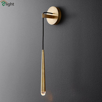RH Copper Gold G4 Led Wall Lamp American Retro Waterdrop Design Crystal Led Wall Light Indoor Lighting Sconces Bedsides Led Lamp