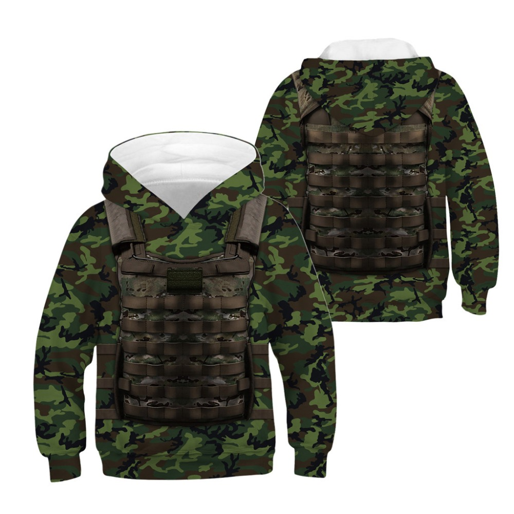 Children Sports Hoodies Camouflage Military Cos Kids Casual Sweatshirts Junior Tops Child Pullover Boy/Girl Hooded Sweaters