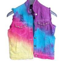 women Rivet hole tie dyed denim vest female tide soft sister rainbow gradient coat jacket