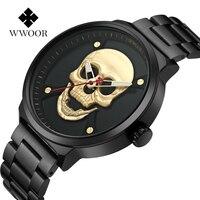 WWOOR Legal Do Crânio Homens Relógio Marca De Luxo de Quartzo Relógio Criativo Relógio de Aço Preto Militar Feminino Masculino Relógios de Pulso relogio masculino Relógios de quartzo     -
