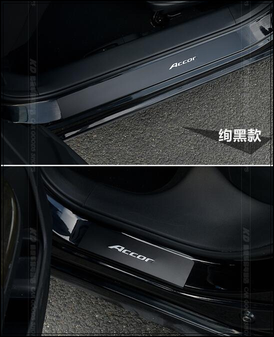Higher star aluminium alloy color 4pcs door sills scuff footplateprotection sticker with logo for Honda Accord 2014 2017-in Chromium Styling from ... & Higher star aluminium alloy color 4pcs door sills scuff footplate ...