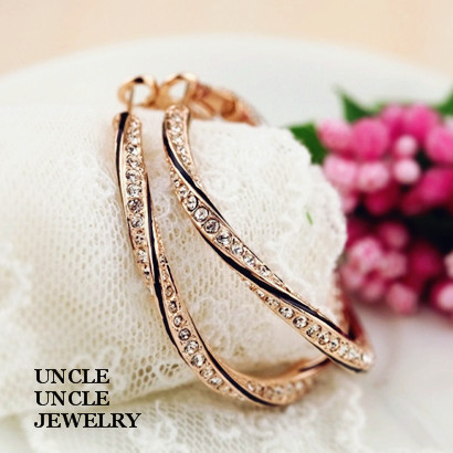 Rose Gold Plated Rhinestones Inlaid Classic Grace Round Circle Design 4.2cm Lady Hoop Earrings Wholesale