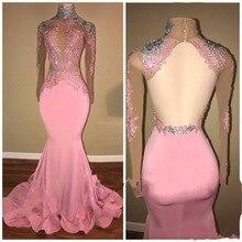 Sexy Long Evening Dress Full Sleeves 2018 robe de soiree longue Pink Evening Dress Mermaid vestido de festa deabendkleider